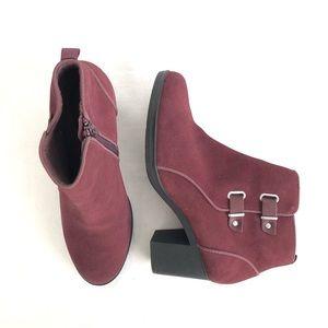 Clark's Suede Maroon Booties Heels Buckle Leather